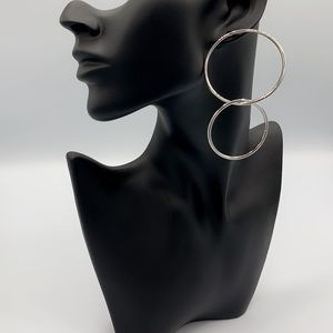 "Silver ""City Simplicity"" Hoop Post Earrings"